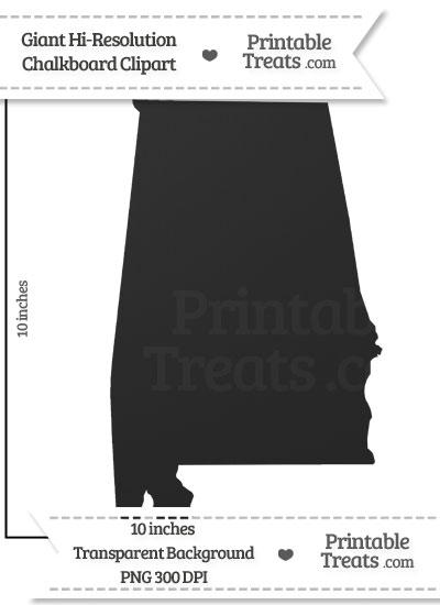 Clean Chalkboard Giant Alabama State Clipart from PrintableTreats.com