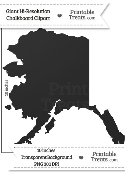Clean Chalkboard Giant Alaska State Clipart from PrintableTreats.com