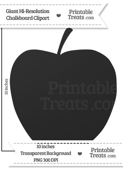 Clean Chalkboard Giant Apple Clipart from PrintableTreats.com