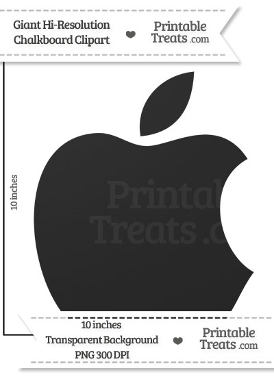 Clean Chalkboard Giant Apple Logo Clipart from PrintableTreats.com