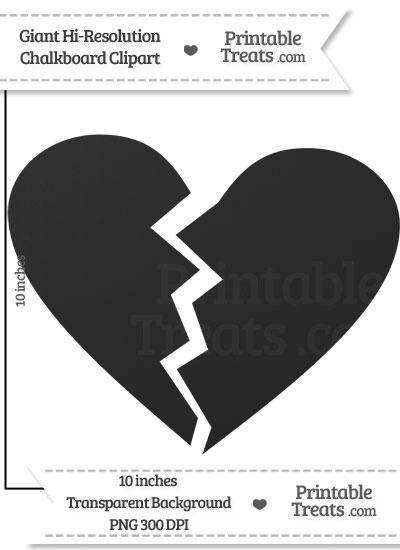 Clean Chalkboard Giant Broken Heart Clipart from PrintableTreats.com