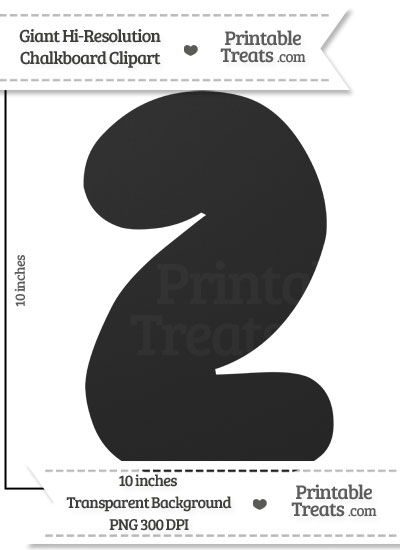 Clean Chalkboard Giant Bubble Number 2 Clipart from PrintableTreats.com
