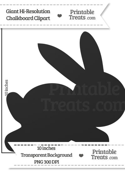 Clean Chalkboard Giant Bunny Clipart from PrintableTreats.com