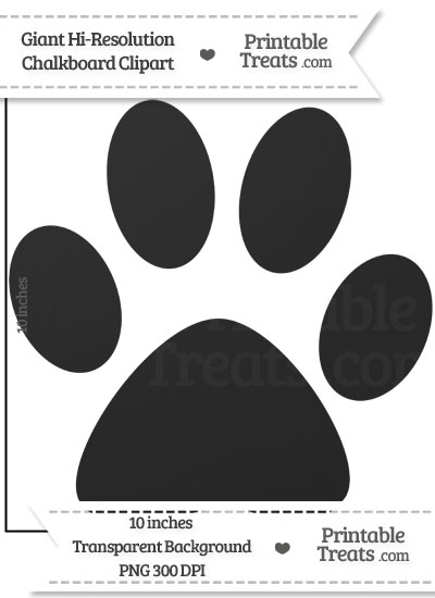 Clean Chalkboard Giant Cat Paw Print Clipart from PrintableTreats.com