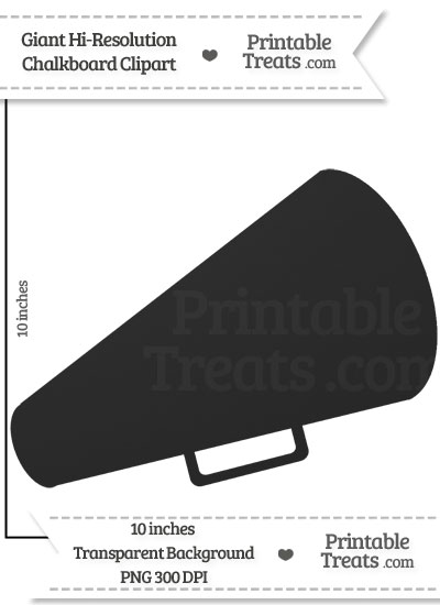 Clean Chalkboard Giant Cheer Megaphone Clipart from PrintableTreats.com