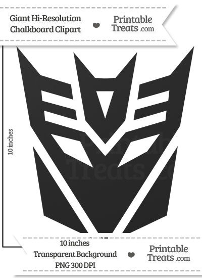 Clean Chalkboard Giant Decepticon Symbol Clipart from PrintableTreats.com
