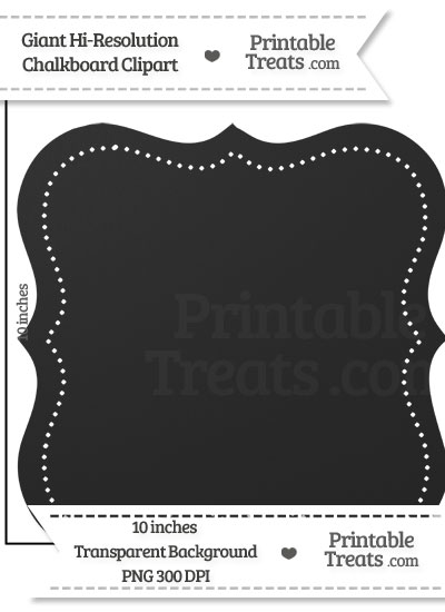 Clean Chalkboard Giant Dotted Fancy Label Clipart from PrintableTreats.com
