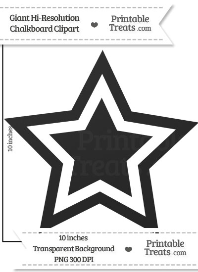 Clean Chalkboard Giant Double Star Clipart from PrintableTreats.com