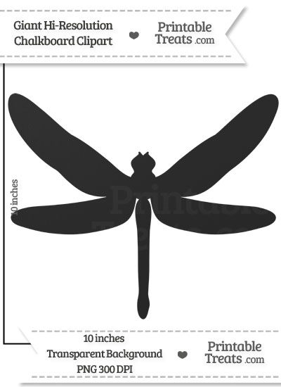 Clean Chalkboard Giant Dragonfly Clipart from PrintableTreats.com