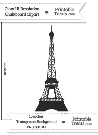 Clean Chalkboard Giant Eiffel Tower Clipart from PrintableTreats.com