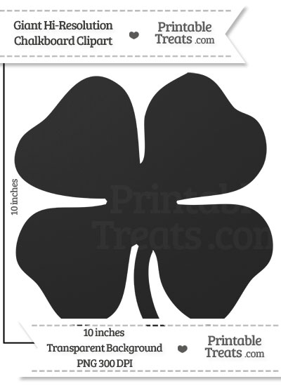 Clean Chalkboard Giant Four Leaf Clover Clipart from PrintableTreats.com