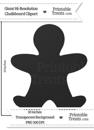Clean Chalkboard Giant Gingerbread Man Clipart from PrintableTreats.com