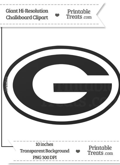 Clean Chalkboard Giant Green Bay Packers Logo Clipart from PrintableTreats.com