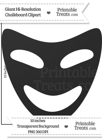 Clean Chalkboard Giant Happy Theater Mask Clipart from PrintableTreats.com
