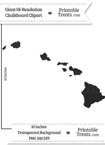 Clean Chalkboard Giant Hawaii State Clipart from PrintableTreats.com