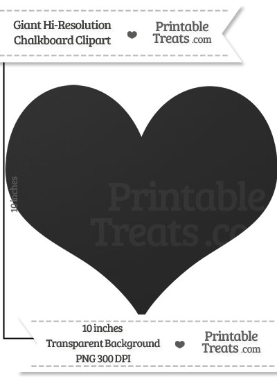 Clean Chalkboard Giant Heart Card Symbol Clipart from PrintableTreats.com