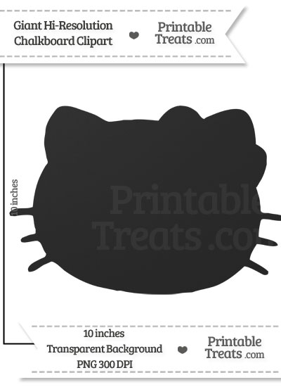 Clean Chalkboard Giant Hello Kitty Head Clipart from PrintableTreats.com