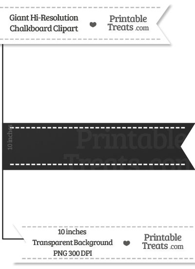 Clean Chalkboard Giant Horizontal Stitched Ribbon Clipart from PrintableTreats.com