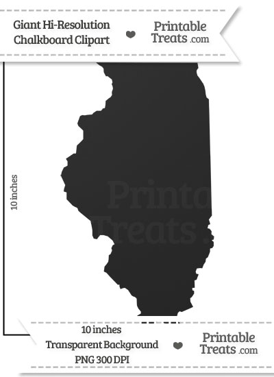 Clean Chalkboard Giant Illinois State Clipart from PrintableTreats.com