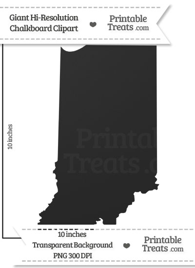 Clean Chalkboard Giant Indiana State Clipart from PrintableTreats.com