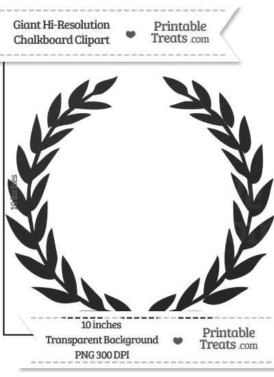 Clean Chalkboard Giant Laurel Wreath Clipart from PrintableTreats.com