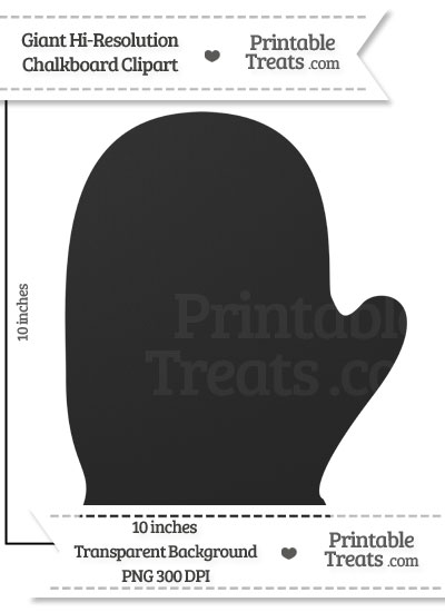 Clean Chalkboard Giant Left Mitten Clipart from PrintableTreats.com