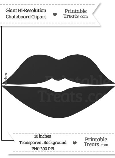Clean Chalkboard Giant Lips Clipart from PrintableTreats.com