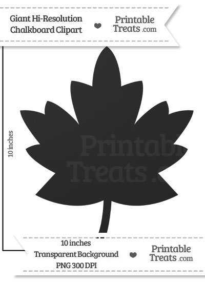 Clean Chalkboard Giant Maple Leaf Clipart from PrintableTreats.com