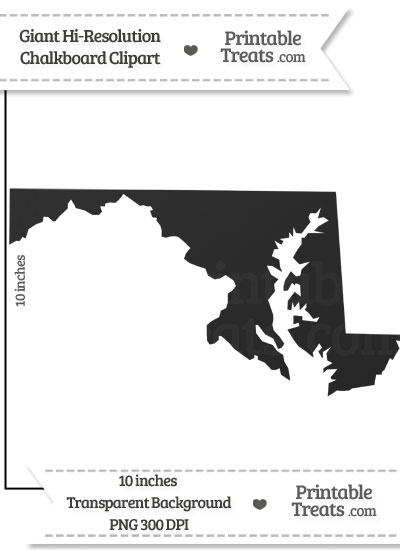 Clean Chalkboard Giant Maryland State Clipart from PrintableTreats.com