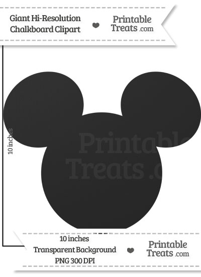 Clean Chalkboard Giant Mickey Mouse Head Clipart from PrintableTreats.com