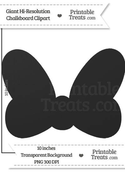 Clean Chalkboard Giant Minnie Mouse Bow Clipart from PrintableTreats.com