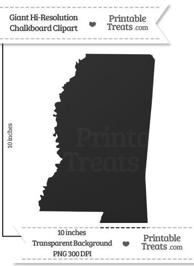 Clean Chalkboard Giant Mississippi State Clipart from PrintableTreats.com