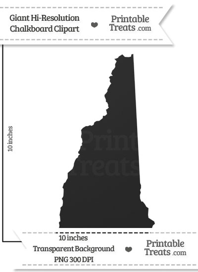 Clean Chalkboard Giant New Hampshire State Clipart from PrintableTreats.com