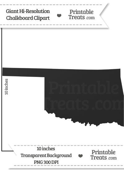 Clean Chalkboard Giant Oklahoma State Clipart from PrintableTreats.com