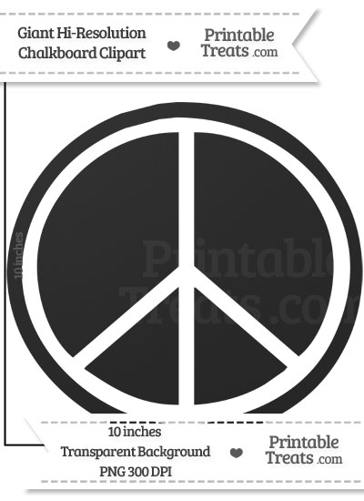 Clean Chalkboard Giant Peace Sign Clipart from PrintableTreats.com