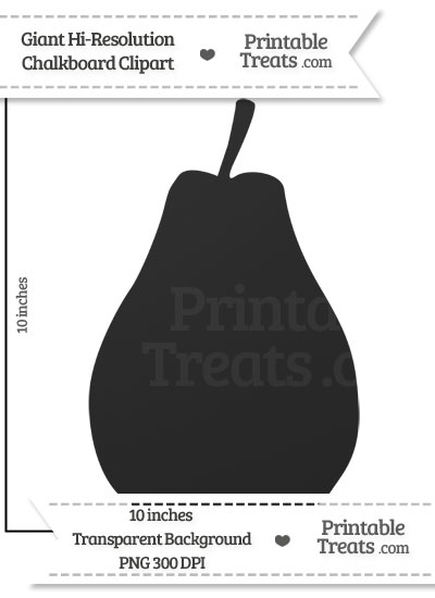 Clean Chalkboard Giant Pear Clipart from PrintableTreats.com
