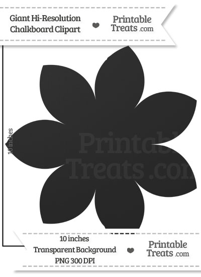 Clean Chalkboard Giant Pointed Petal Flower Clipart from PrintableTreats.com