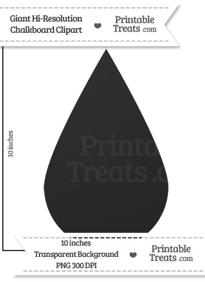 Clean Chalkboard Giant Raindrop Clipart from PrintableTreats.com