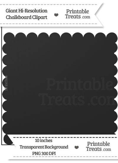 Clean Chalkboard Giant Scalloped Square Clipart from PrintableTreats.com