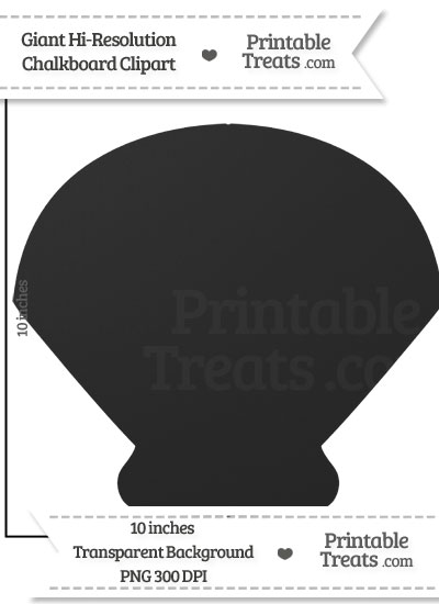 Clean Chalkboard Giant Sea Shell Clipart from PrintableTreats.com