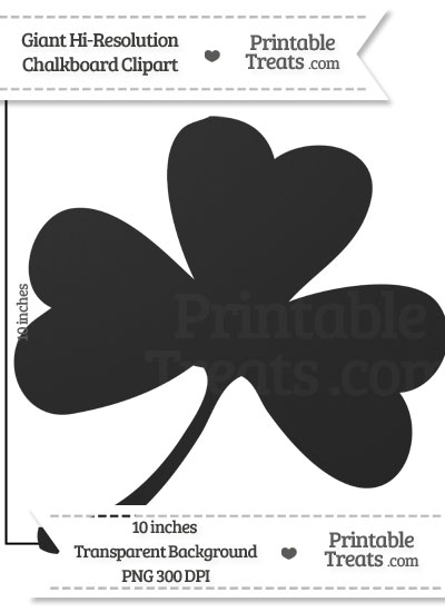 Clean Chalkboard Giant Shamrock Clipart from PrintableTreats.com