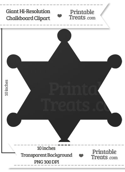 Clean Chalkboard Giant Sheriffs Badge Clipart from PrintableTreats.com