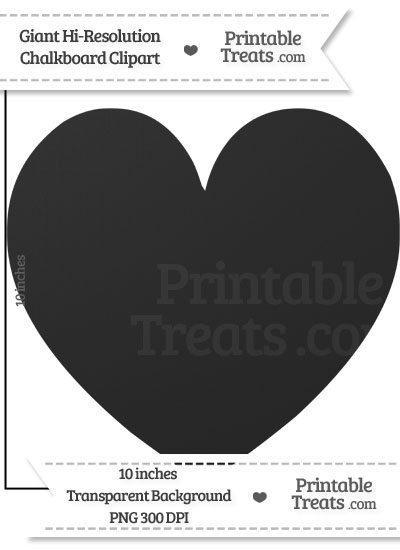 Clean Chalkboard Giant Skinny Heart Clipart from PrintableTreats.com