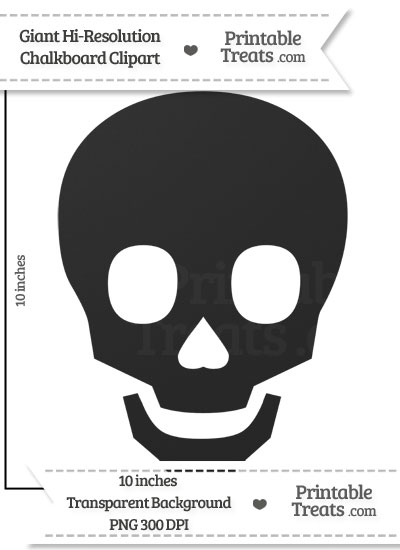 Clean Chalkboard Giant Skull Clipart from PrintableTreats.com