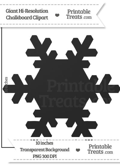 Clean Chalkboard Giant Snowflake Clipart from PrintableTreats.com