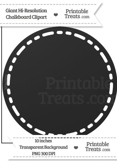 Clean Chalkboard Giant Stitched Circle Clipart from PrintableTreats.com