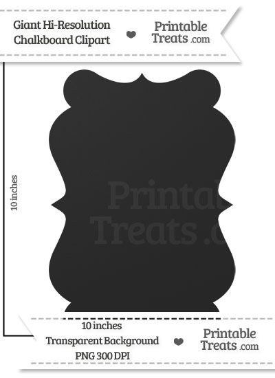 Clean Chalkboard Giant Tall Fancy Label Clipart from PrintableTreats.com