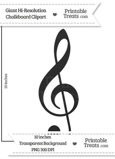 Clean Chalkboard Giant Treble Clef Clipart from PrintableTreats.com