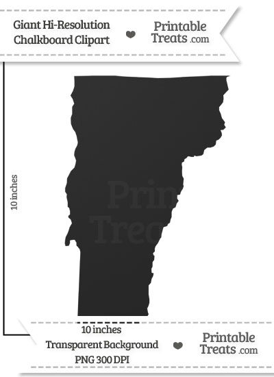 Clean Chalkboard Giant Vermont State Clipart from PrintableTreats.com
