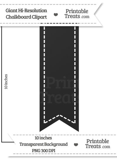 Clean Chalkboard Giant Vertical Stitched Ribbon Clipart from PrintableTreats.com